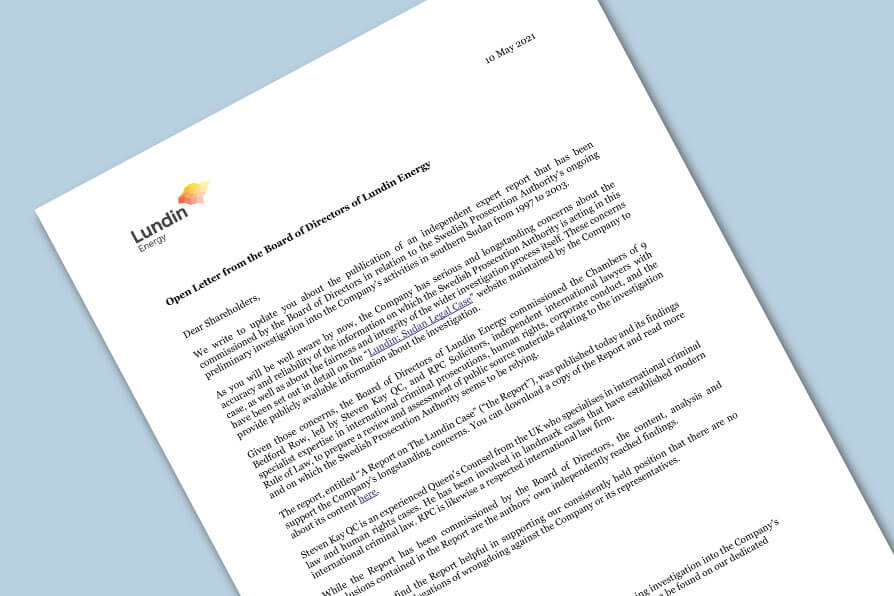 Open Letter from the Board of Directors of Lundin Energy